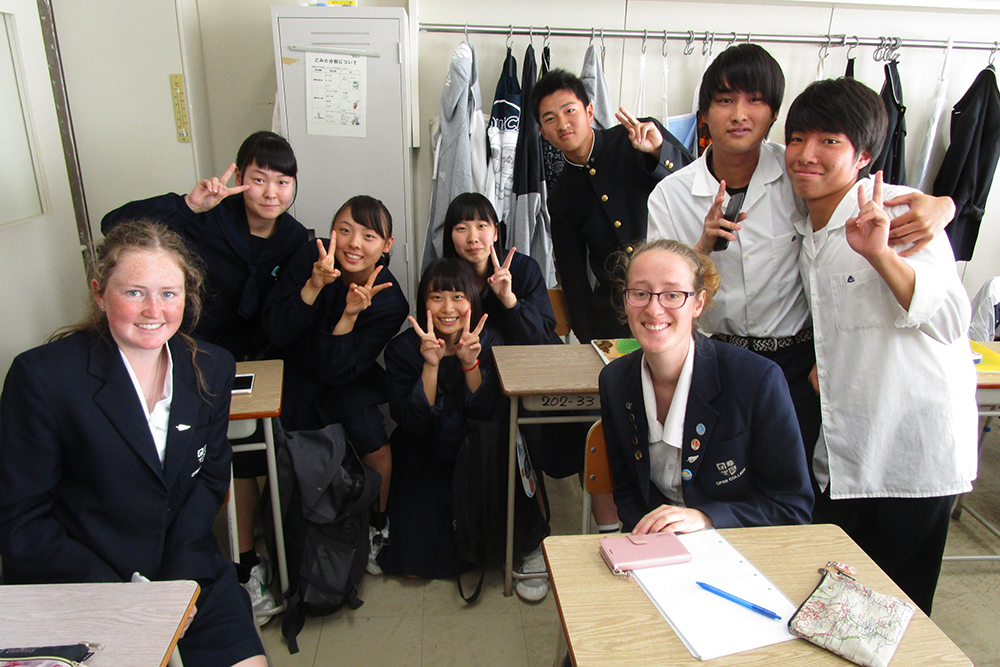 Students Louise and Emilie pictured at the Japanese high school