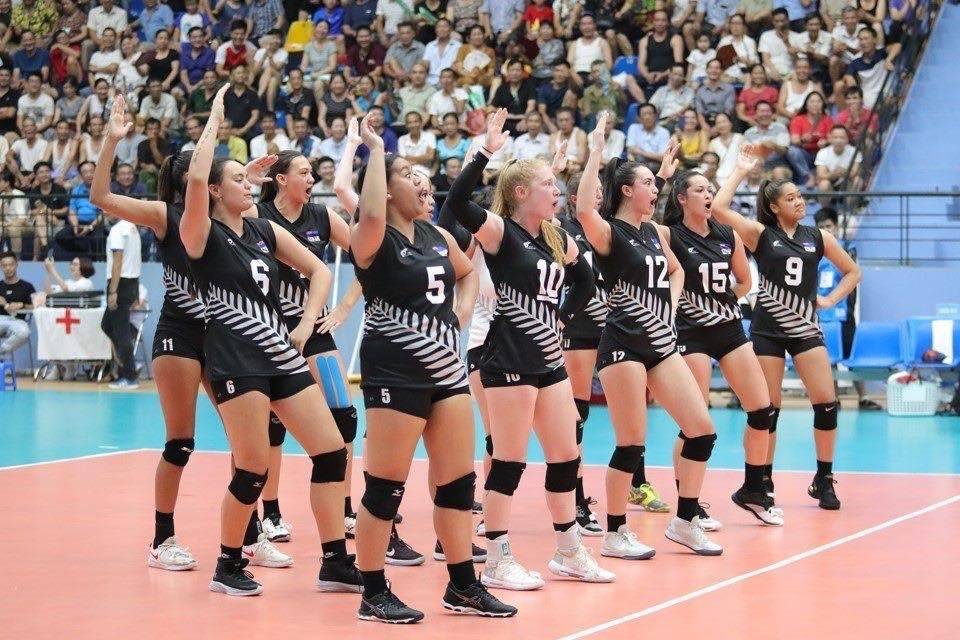 New Zealand under 23 volleyball team performing a wero